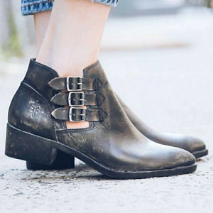 Frye Ray Belted Bootie Stonewash Distressed
